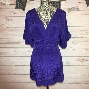 Maeve Purple V Neck Embroidered Tie-Back Blouse